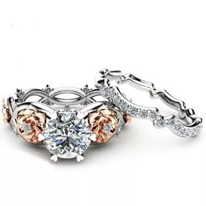 Women's silver & rose gold filled diamond ring set